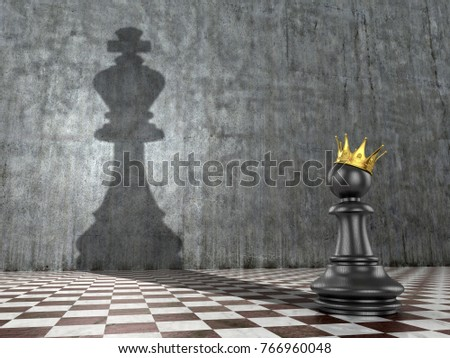 The concept of self-realization of self-development and career growth. A pawn with a crown that throws the shadow of a king's chess figure. 3d illustration.