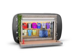 The concept of shopping via the internet or smarfony. shopping mobile. Clothing store in the mobile phone on a white background. 3D illustration.