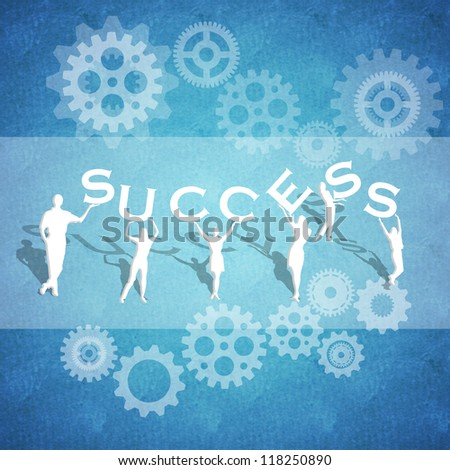 The concept of Teamwork and Success in Business on a blue background
