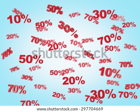 The concept of the discount and sale. collection of discount numbers 10% 20% 30% 50% 70%. Blue background.
