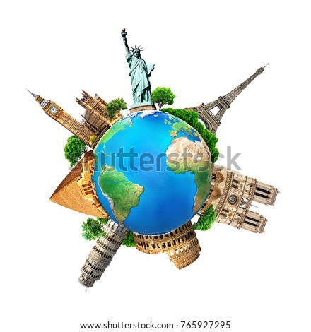 The concept of the planet with architectural landmarks of the world #765927295