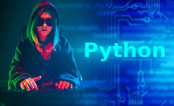 The concept of the programming language Python in neon lights. Developer of software in Python. Dark collage on the theme of programming languages with a girl in black glasses.