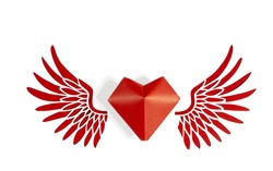 The concept of Valentine's day. Red heart with red angel wings on a white isolated background