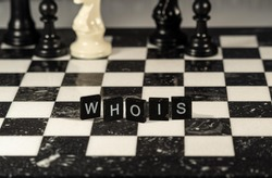 The concept of WHOIS, website or domain ownership lookup represented by black and white letter tiles on a marble chessboard with chess pieces