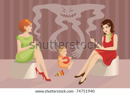 The concept: smoking harms to associates. Little child and smoking women
