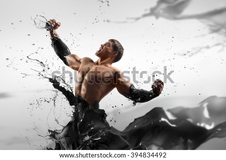 the concept - the price of oil increases. Strong handsome man on an abstract background oiled. Tycoon, oil, black gold. #394834492