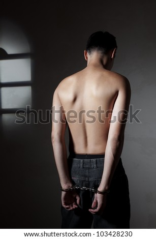 The concluded guy of the Asian appearance in handcuffs
