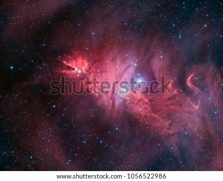 The Cone Nebula is a dark cloud in conjunction with an H-II region, also embedded in NGC 2264, making the Cone Nebula a part of the nebula surrounding the Christmas tree cluster.