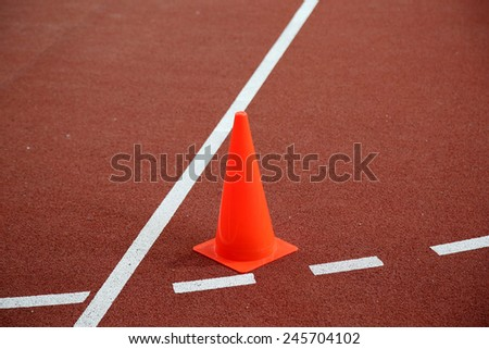 The cone on the running track at indoor stadium