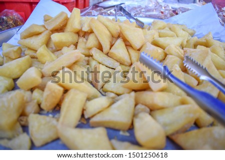 The confectionery is made from yellow beans and then fried.