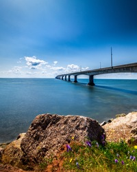 The Confederation Bridge in Canada connecting Prince Edward Island to New Brunswick