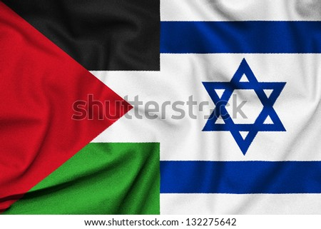 The confrontation between Israel and Palestine. Fabric Texture flags.