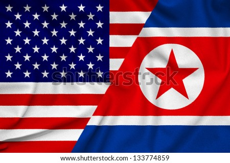 The confrontation between USA and North Korea. Fabric Texture flags.