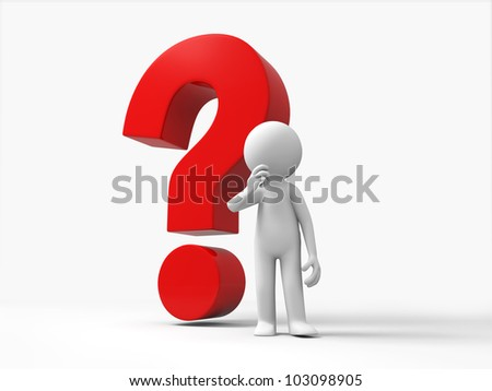 The confused/3d people stand in front question mark - stock photo