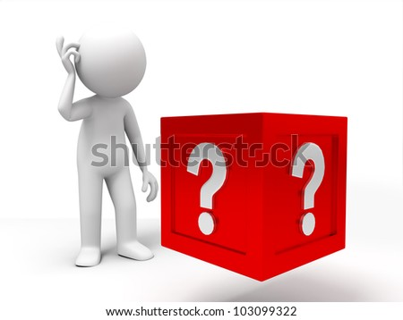 The confused/3d people standing in front of the question box