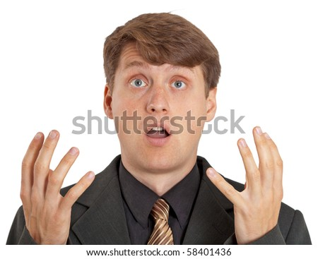 The confused person isolated on a white background