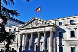 The Congress of Deputies of Spain (Congreso de los Diputados), the lower house of the Cortes Generales, Spain's legislative branch, located in the Palace of the Parliament ,Plaza de las Cortes, Madrid