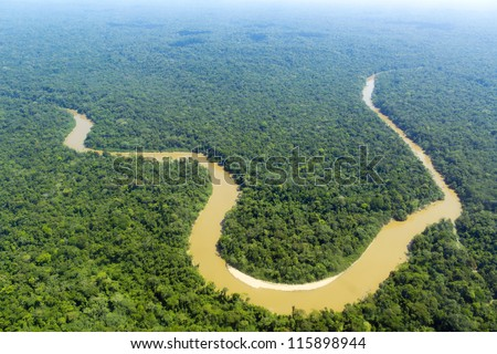 The Cononaco river in the Ecuadorian Amazon from the air