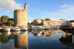The Constance Tower and the medieval city of Aigues mortes, a resort on the coast of Occitanie region, Camargue, France