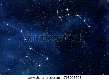 The constellation Ursa Major and Ursa Minor in the starry sky as background Stock photo ©