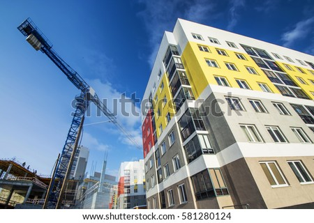 The construction of a new residential apartment home . The concept construction of affordable housing