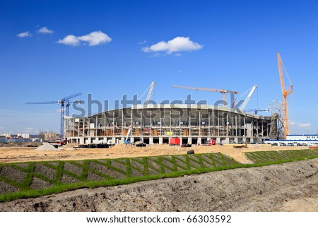 The construction of football stadium for the European Championship 2012. Gdansk, Poland.