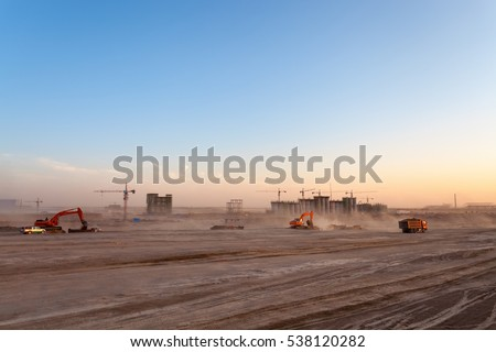 the construction site of coal washery at dusk