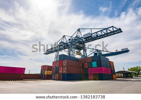 The container port without any people/worker on a sunny summer day with some clouds. ストックフォト ©