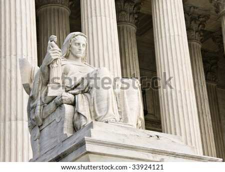 "The ""Contemplation of Justice"" statue by James Earle Fraser, sculptor. This statue sits on the West fa?ade of the Supreme Court building in Washington DC."