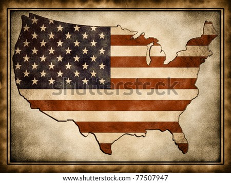 The contour of the U.S.A. flag wrapped in the old background