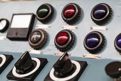 the control panel of an old locomotive closeup