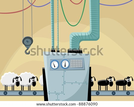 The conveyor for a hairstyle of sheeps, raster