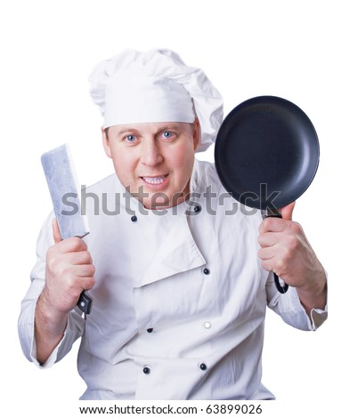 The cook in special clothes with a knife and a frying pan in hands