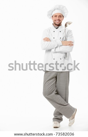 The cook with a ladle on a white background
