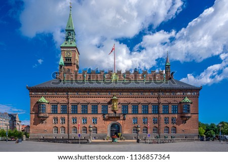 The Copenhagen City Hall, Denmark. Situated on The City Hall Square in central Copenhagen, it was built in 1892-1905. The architect Martin Nyrop designed it in the National Romantic style.