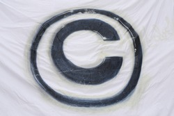 the copyright sign in the legal system, black on white background