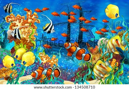 The coral reef illustration for the children