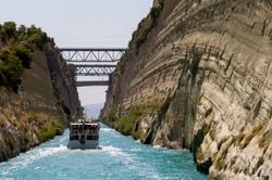 The Corinth Canal and bridges, Greece