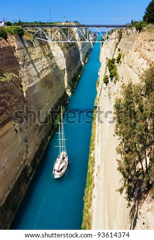 The Corinth Canal connects the Gulf of Corinth with the Saronic Gulf in the Aegean Sea