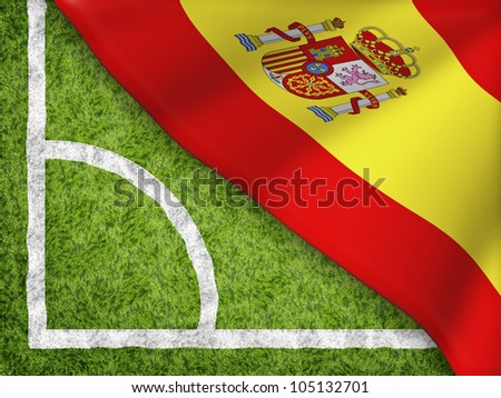 The corner of soccer field with Spain flag