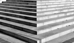 The corner of the outdoor marble staircase, in an architectural background