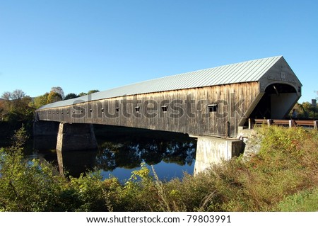 The Cornish-Windsor Covered Bridge spans the Connecticut River connecting the towns of Cornish, NH and Windsor, VT
