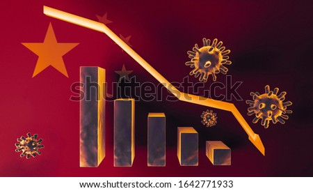 The coronavirus impacts the global economy. Graph in decline of the economy in China. The corona virus weakens the economy. China falls into its economic business; 3D; 3D Illustration