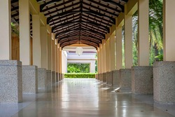 The corridor between the rooms at the luxury resort