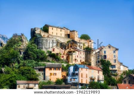 The Corte Citadel in Corte on Corsica, France Foto stock ©