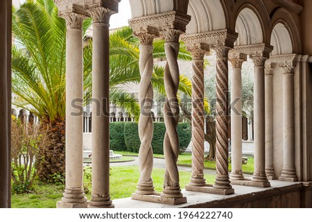 The Cosmatesque cloister of the Basilica of San Giovanni in Laterano in Rome, Italy Stock photo ©