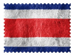 The Costa Rica flag painted on paper postage  stamp