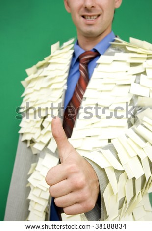 The Costume of the manager from stickers. - stock photo
