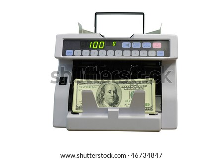 The counter of denominations considers hundred dollars banknotes. Isolation on  white