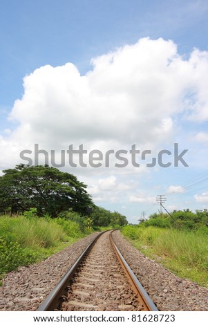 The country side railway goes into horizon on Sunny Day